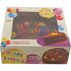 LIGHTBODY Gâteau d'anniversaire au chocolat avec bougies 16 parts 820g