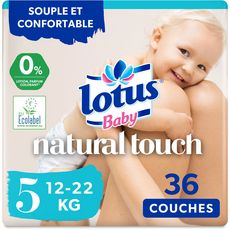 LOTUS BABY Natural touch couches taille 5 (12-22kg) 36 couches
