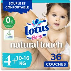 LOTUS BABY Natural touch couches taille 4+ (10-16kg) 36 couches