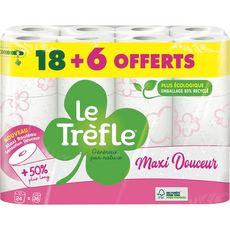 LE TREFLE Papier toilette maxi rouleau douceur blanc 18 rouleaux + 6 offerts