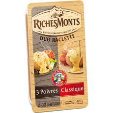 RICHESMONTS RichesMonts Fromage à raclette nature et 3 poivres 2x8 tranches 420g 2x8 tranches 420g