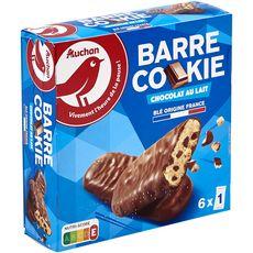 AUCHAN Barre cookie biscuits au chocolat au lait sachets individuels 6 biscuits 168g