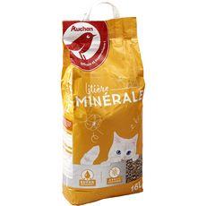 AUCHAN Littière minérale absorbante pour chat 16l