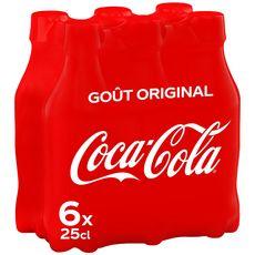 COCA-COLA Boisson gazeuse aux extraits végétaux original bouteilles 6x25cl