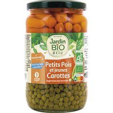 JARDIN BIO ETIC Petits pois très fins et jeunes carottes, en bocal 660g
