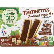 JARDIN BIO ETIC Tartinettes à croquer aux chocolat noisette sachets 8 sachets 138g