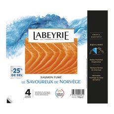 LABEYRIE Saumon fumé de Norvège -25% de sel 4 tranches 130g