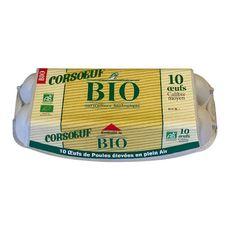 CORSOEUF Oeufs de poules moyens élevées en plein air bio 10 oeufs