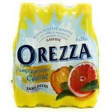 OREZZA Eau minérale gazeuse aromatisée pamplemousse et cédrat bouteille 6x33cl