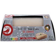 AUCHAN Bloc de foie gras de canard du Sud-Ouest avec morceaux 11 portions 450g