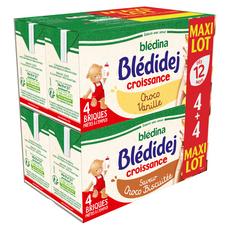 BLEDINA Blédidej céréales lactées croissance choco vanille ou biscuitée 8x250ml