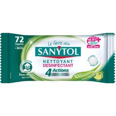 SANYTOL Lingettes nettoyantes désinfectantes citron vert 72 lingettes