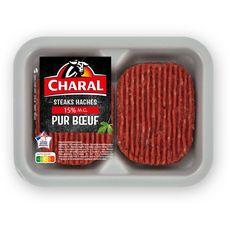 CHARAL Steaks Hachés Pur Bœuf 15%mg 2 pièces 250g