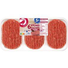 AUCHAN Steaks Hachés Pur Boeuf 5%mg 6 pièces 600g