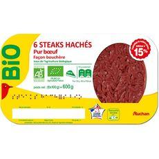 AUCHAN Steaks Hachés Pur bœuf 15%mg bio 6 pièces 600g