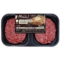 AUCHAN MMM! Steaks hachés Charolais 12%mg 2 pièces 250g