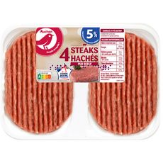 AUCHAN Steaks Hachés Pur Boeuf 5% mg 4 pièces 400g