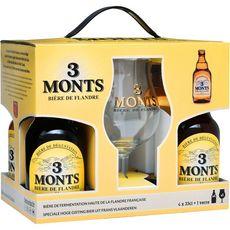 3 MONTS Bière blonde coffret 8,5% bouteilles + 1 verre 4x33cl
