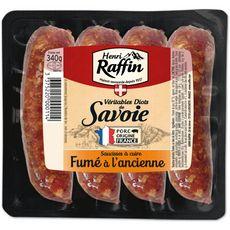 HENRI RAFFIN Diots saucisses de Savoie fumées à l'ancienne 4 pièces 34g