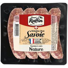 HENRI RAFFIN Diots de Savoie saucisses nature 4 pièces 340g