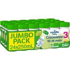 CANDIA BABY Lait de croissance bio dès 10 mois jumbo pack 24x25cl