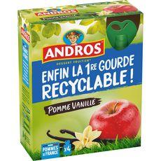 ANDROS Gourdes pomme vanille 4 gourdes 360g
