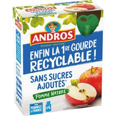 ANDROS Gourdes pomme nature sans sucres ajoutés 4 gourdes 360g