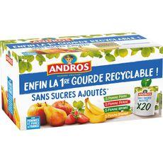 ANDROS Gourdes panaché de fruits sans sucres ajoutés 20 gourdes 1,8kg