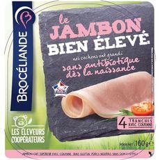 BROCELIANDE Jambon cuit supérieur avec couenne 4 tranches 160g