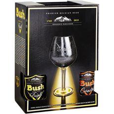 BUSH Coffret bières belge blonde et ambrée bouteilles + 1 verre 4x33cl