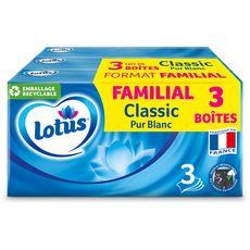 Lotus Boîtes de mouchoirs blancs 3 épaisseurs maxi format 3x90