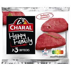 CHARAL Biftecks happy family 3 pièces 300g