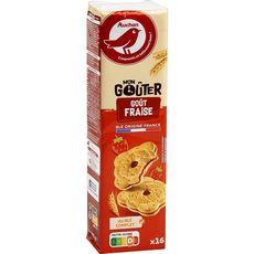 AUCHAN Biscuits fourrés saveur fraise 16 biscuits 300g