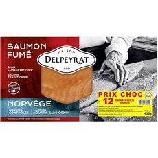 DELPEYRAT Saumon Fumé de Norvège sans OGM 12 tranches 450g