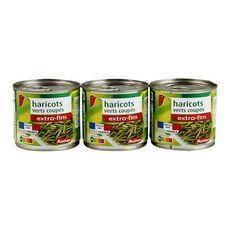 AUCHAN Haricots verts extra fins coupés 3x110g