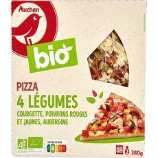 AUCHAN BIO Pizza aux 4 légumes courgette, poivrons rouges et jaunes, aubergine 2 portions 380g