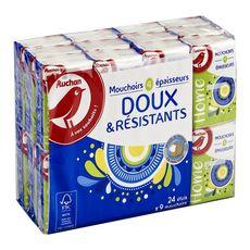 AUCHAN Paquets de mouchoirs doux et résistants 4 épaisseurs  24x9 mouchoirs 24 paquets