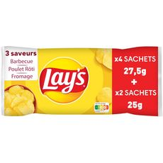 LAY'S Chips barbecue, pulet rôti, fromage - sachets individuels lot de 6 6x25g