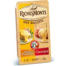RICHES MONTS Fromage à raclette nature herbes de Provence 420g