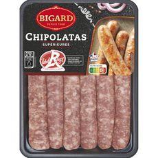 BIGARD Chipolatas supérieures label rouge 6 pièces 330g
