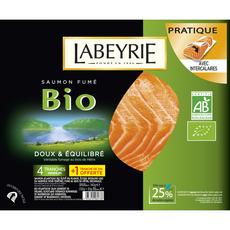 LABEYRIE Labeyrie Saumon fumé bio en tranche x4+1 offerte 140g 4 tranches +1 offerte 140g