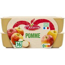 MATERNE Coupelles pomme nature allégé en sucres sans conservateur 16x100g