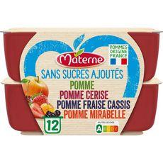 MATERNE Coupelles pomme mirabelle fruits rouges sans sucres ajoutés 12x100g