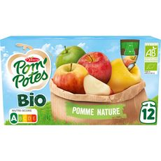 POM'POTES Gourdes bio pomme nature sans sucres ajoutés sans conservateur 12x90g