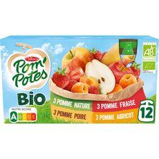 POM'POTES Gourdes bio pomme fraise poire abricot sans sucres ajoutés 12x90g