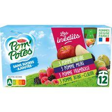 POM'POTES Gourdes pomme mûre framboise reine-claude sans sucres ajoutés 12x90g