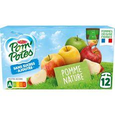 POM'POTES Gourdes pomme nature sans sucres ajoutés sans conservateur 12x90g
