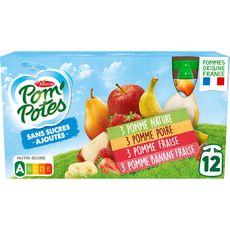 POM'POTES Gourdes pomme poire fraise banane sans sucres ajoutés sans conservateur 12x90g