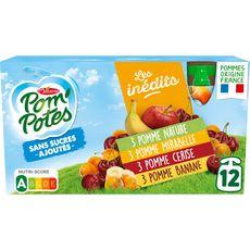 POM'POTES Gourdes pomme mirabelle cerise banane sans sucres ajoutés sans conservateur 12x90g