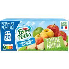 POM'POTES Gourdes pomme nature sans sucres ajoutés sans conservateur 20x90g